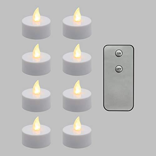 LuminalPark 8 Bougies Chauffe-Plat à LED avec télécommande, Blanc Chaud