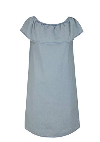 ONLY Damen Kleid Onlsam Off Shoulder Dnm Dress Akm, Blau (Light Blue Denim Light Blue Denim), Large (Herstellergröße:40)