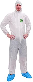 2 PCS Raygard Light Duty Disposable Coveralls with Hood Polypropylene PP Suit Elastic Cuffs Front Zipper Closure for Spray Painting Surgical Cleaning Work(2X-Large,White)