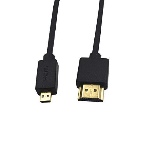 Duttek Micro HDMI auf HDMI Kabel, Micro HDMI auf HDMI Kabel, extrem schlank Micro HDMI Stecker auf HDMI Stecker Kabel für 1080P 4K UltraHD 3D Ethernet und Audio Return Channel 2ft/60cm