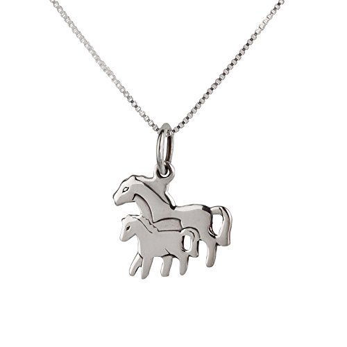 FIVE-D set ketting kinderen hanger klein paard veulen 925 zilver in sieradenetui ketting: 36 cm