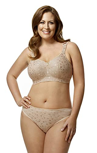 Elila Women's Plus Size Wire Free Full Coverage Jacquard Embroidered Bra, Nude, 50K