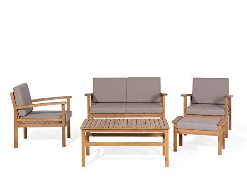 Beliani Modernes Gartenmöbel Set Sofa 2 Sessel HockerCouchtisch Akazienholz Manila