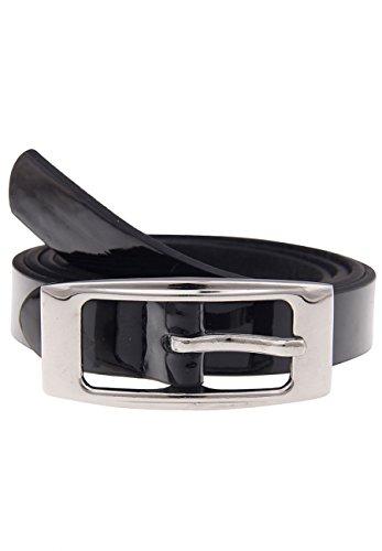 Leslii Damen Gürtel Lackgürtel Lederimitat Gürtel aus Lack mit Metall Breite 1,8cm schmal in Schwarz Hochglanz