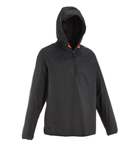 Quechua wasserdichte Regenjacke Naturwandern NH100 Raincut Half-Zip leichtes Gewicht Herren/Damen Unisex Schwarz Oversize XL / 2XL