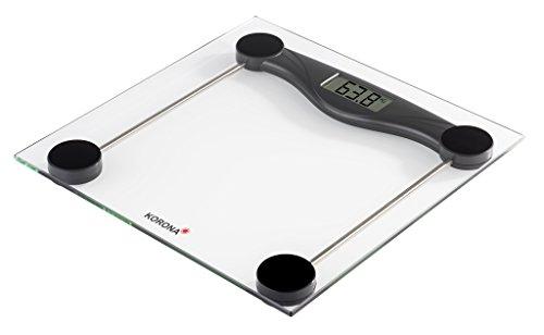 Korona 74540 Báscula de vidrio OLIVIA   180 kg de capacidad, graduación 100 g   pantalla LCD de fácil lectura   diseño intemporal   indicador de sobrecarga   pilas incluidas