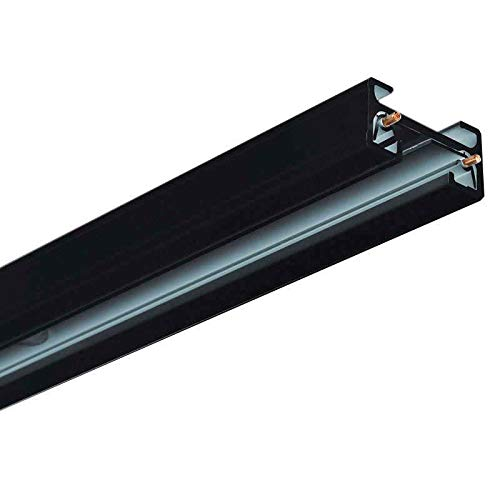 Carril monofásico con conector, 2 metros, negro, cuadrado