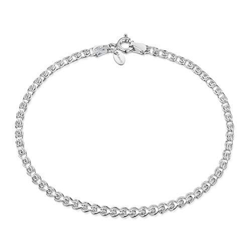 Amberta Pulsera Corazón en Plata de Ley 925 para Mujer: 18 cm