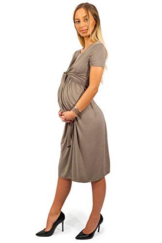 sofsy Soft-Touch Rayon Blend Tie Front Nursing & Maternity Fashion Dress Dress - Dark Purple Medium