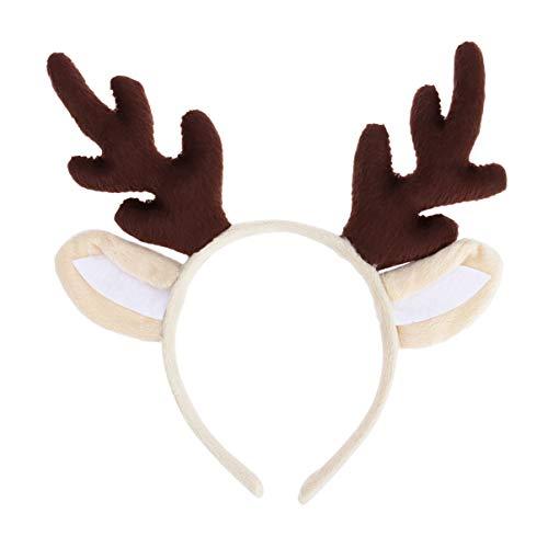 KESYOO Weihnachts Rentiergeweih Stirnband mit Rentierohren Weihnachtskostüm Zubehör (Braun)