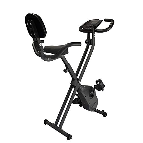 Skandika Foldaway X-1200 Bicicleta estática plegable | Fitness X-Bike, 8 niveles de resistencia, pantalla LCD, soporte para tablet, hasta 190 cm (gris)