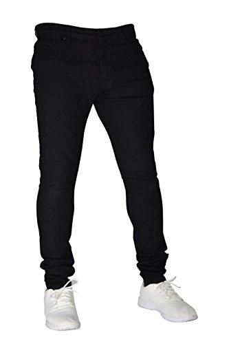 New Herren Stretch Skinny Slim Fit Flex Jeans Hose dehnbar Denim 98% Baumwolle & 2% Stretch Hosen, Skinny, Größe 32W x 30L (32S UK), Farbe Schwarz