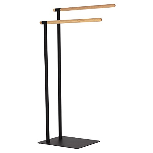 Sealskin Brix Handtuchständer schwarz, Handtuchhalter mit einer stilvollen Kombination aus modernem Metall und natürlichem Holz