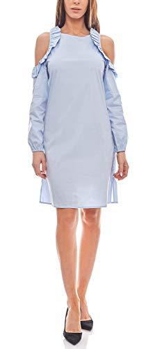 vivance Collection Kleid kurzes Rundhals Damen Rüschen-Kleid mit Cut-Outs Sommerkleid Hellblau, Größenauswahl:34