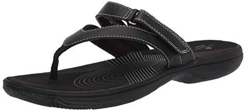 Clarks Women's Brinkley Marin Flip-Flop, Black Synthetic, 8 M US