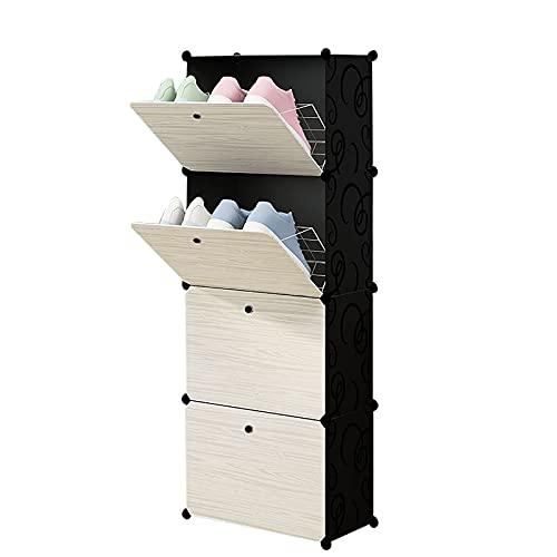 Möt kärlek europeisk enkel gungskokorg multifunktionell hushåll sovrum skokartong montering/förvaringslåda stor kapacitet (färg: Svart, storlek: 4 våningar)