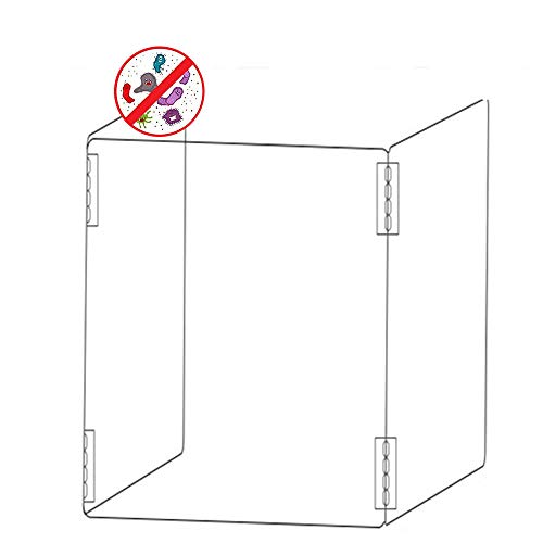 2Pcs Freestanding Sneeze Guard, Clear Acrylic Plexiglass Shield for Counters & Transaction Window, Made of 3MM Safety Glass, Isolation Shields for Restaurant Grocery Stores,48X24X40cm