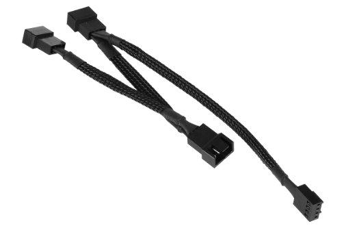 Phobya 4Pin PWM auf 3X 4Pin PWM Verlängerung 40cm - Schwarz Kabel Lüfterkabel und Adapter