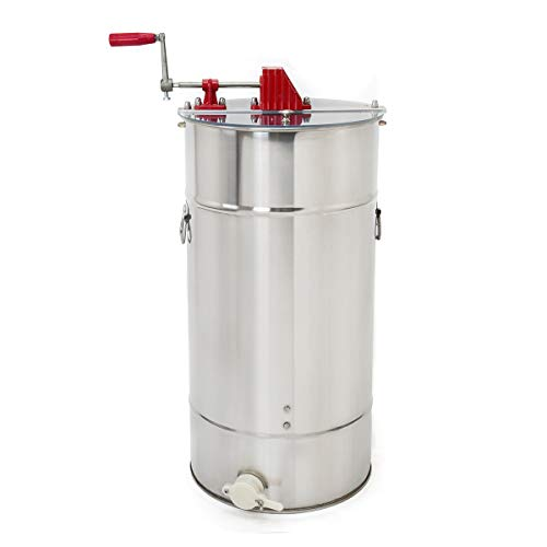 XtremepowerUS 2-Frame Stainless Steel Honey Extractor, Honeycomb Drum Bee Honey Harvest w/Uncapping Knife