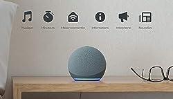 Découvrez Echo Dot, notre enceinte connectée avec Alexa la plus populaire. Son design élégant et compact livre un son riche aux voix nettes et aux basses équilibrées. Contrôlez votre divertissement par simple commande vocale : écoutez des titres en s...