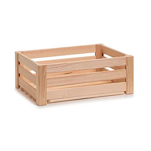 Zeller 13361 Leisten Aufbewahrungskiste, Holz, natur, ca. 40 x 30 x 15 cm