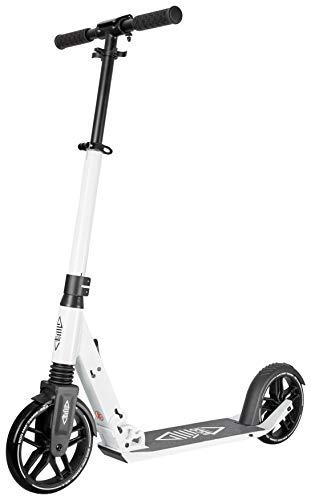 Smartscoo Eco, Tretroller für Erwachsene mit Klappmechanismus, 200mm Rollen, stabil und sehr komfortabel (Weiß)