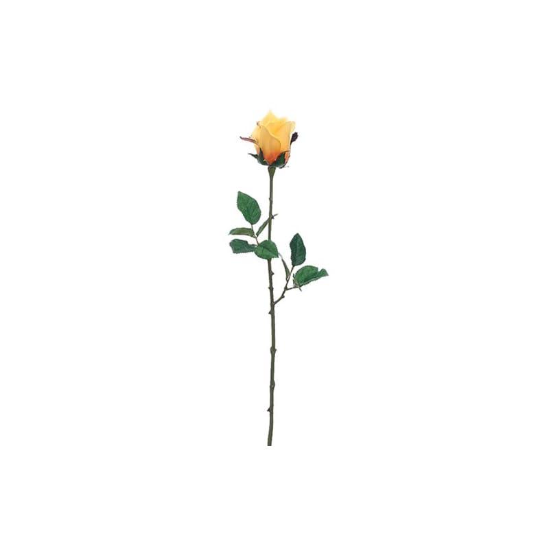 "silk flower arrangements 24"" silk medium ecuador rose bud flower spray -yellow/gold (pack of 12)"