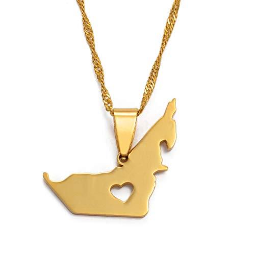 Vereinigte Arabische Emirate Karte Damen Anhänger Halskette Herren Goldkette Tragen Karte