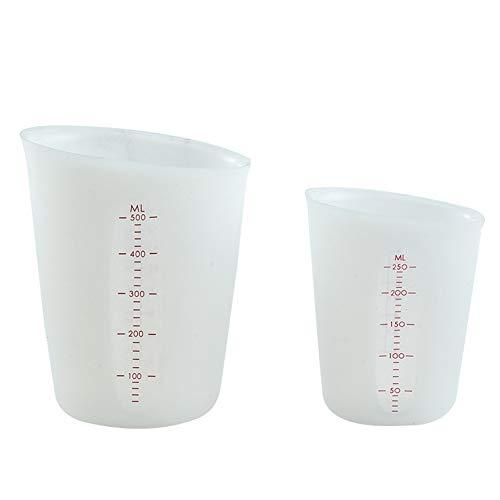 Tazas Medidoras De Silicona De 250 Ml / 500 Ml, Tazas De Silicona Para Resina, Tazas Para Mezclar Antiadherentes Para Herramientas Para Hornear Pasteles, Jarra Transparente De Cocina (250+500 ML)