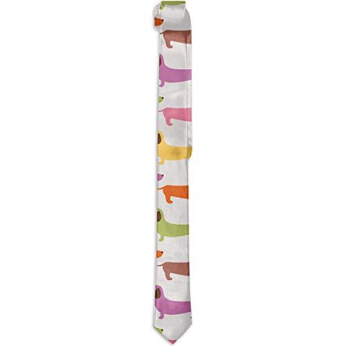 Paedto Corbatas para hombres regalos de Año Nuevo corbata de seda ajustada para hombres moda novedosa corbata de perro salchicha de dibujos animados para cena fiesta boda