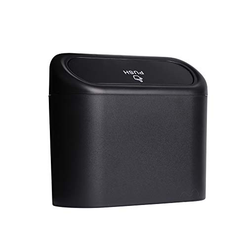 DyiSzhan Portable Hanging car Trash can with lid Mini car Trash can for car Mini Trash canHome Office Black Trash can with Special Hook in car