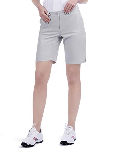 Bakery Golf Shorts Women Bermuda Relaxed Fit Stretch Chino Knee Length Twill Ladies Tech Size 2 Grey