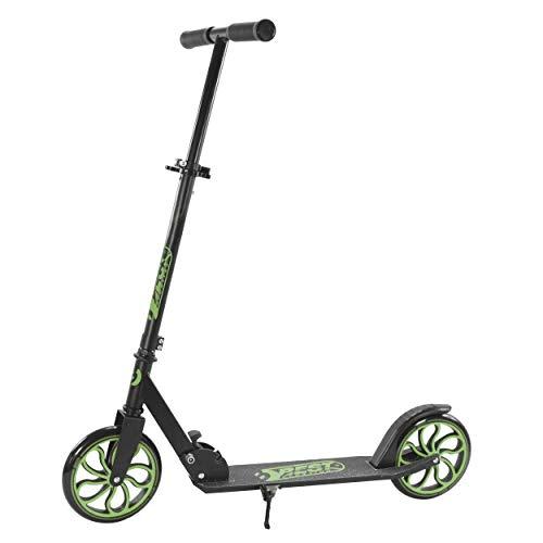 Best Sporting Scooter 200er Rolle, dreifach höhenverstellbarer 82-87 - 92 cm Kickscooter, Tretroller mit Ständer in unterschiedlichen Farben (schwarz/grün)