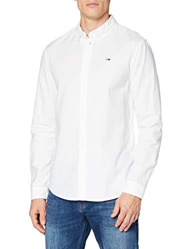 Tommy Hilfiger TJM Slim Stretch Oxford Shirt Camisa, Blanco, L para Hombre