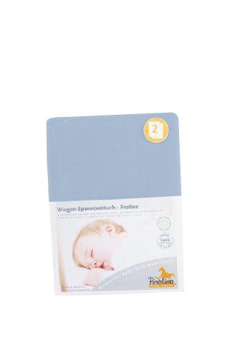 Pinolino Drap-Housse pour des Berceaux Tissu Eponge - Pack de 2 - Bleu Clair