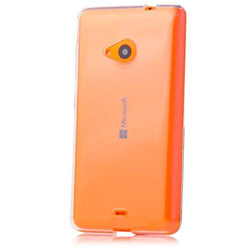 Microsoft Lumia 535 | iCues Transparent TPU Hülle Klar | [Bildschirm Schutzfolie Inklusive] Transparent Klarsichthülle Durchsichtig Klare Klarsicht Silikon Gel Schutzhülle Hülle Cover Schutz