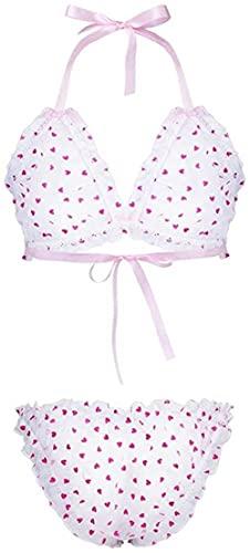 Lencería Sexy Traje de lencería para Hombre Lencería de Encaje Transparente Conjuntos de Tiras Halter Bikini Bra Top con Calzoncillos Conjunto de Ropa Interior-Pink_XX-Large