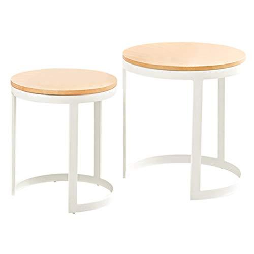 Tables basses Maison Table À Thé Haute Et Basse Petite Table Ronde Salon Canapé Côté Table De Lit De Stockage Cadeau (Color : Blanc, Size : 55 * 55 * 60cm)