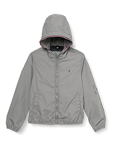 Tommy Hilfiger Jungen Essential Hooded Logo Jacket Jacke, Light Asphalt, 4