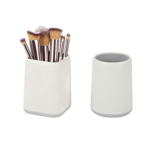 Pencil Holder Makeup Brush Cup - Contrast-Color Pencil Pen Holder for Kids Desk, Large Capacity Paint Pen Makeup Brush Storage(Gray White,2 Pcs)