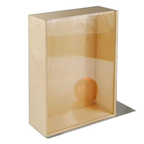 Caja de madera de abedul no tratada con tapa deslizante transparente para tres botellas