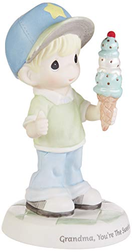Precious Moments 193017 Grandma You're The Sweetest Boy with Ice Cream Cone Bisque Porcelain Figurine, One Size, Multicolor
