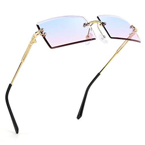 FEISEDY Vintage Rimless Sunglasses Rectangle Frameless Candy Color Glasses Women Men B2642