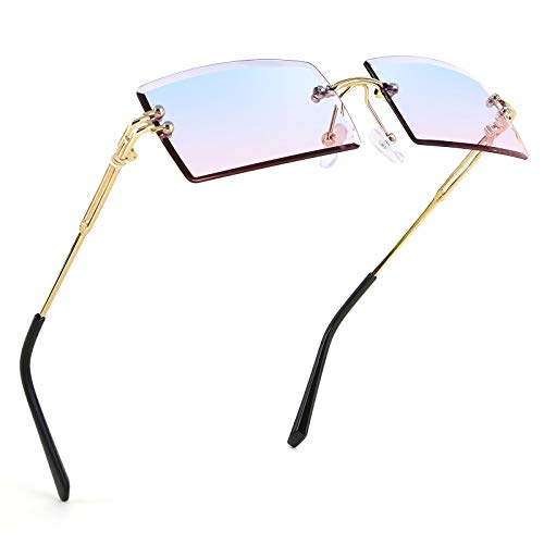 FEISEDY Klassische randlose rechteckige Sonnenbrille, modisch, rahmenlos, quadratisch, Bonbonfarben, UV400-Schutz für Damen und Herren, B2642