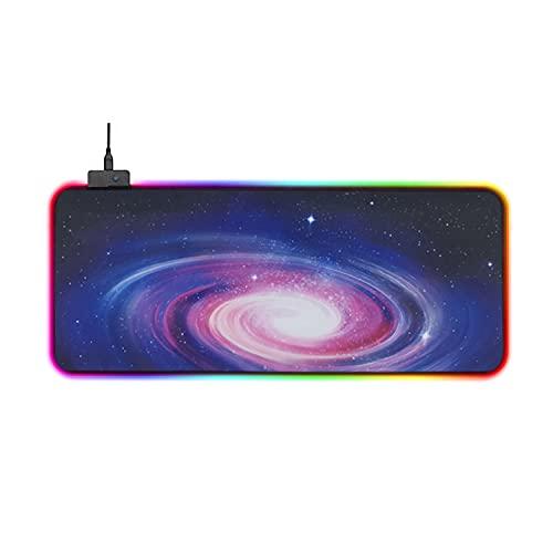 ARTVIC Alfombrilla de ratón RGB con filtro de niebla, extra grande y suave, LED, 14 modos de iluminación, antideslizante, base de goma, teclado de ordenador, 300 x 800 x 4 mm
