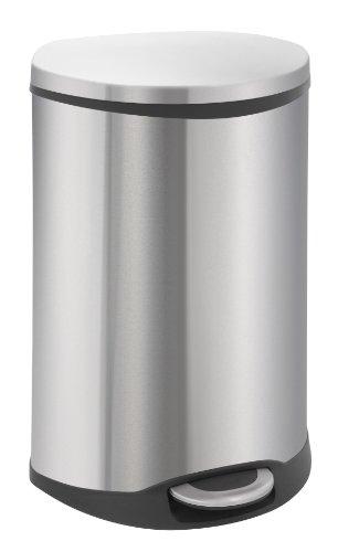 EKO Shell Tretmülleimer 50L muschelförmig Metall (40.6 x 45 x 69 cm, Dämpfer-System, Fingerabdruck frei, Stay-Open, Abfallbeutelfixierung), Edelstahl matt