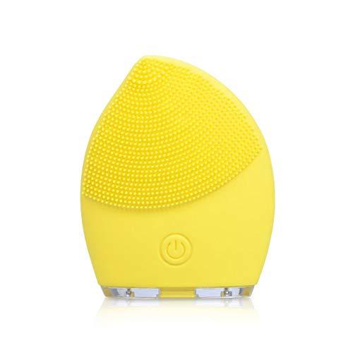 Sistema de limpieza eléctrico Sonic Facial Brush Cleanser Massager para el cuidado de la piel de limpieza profunda (amarillo)