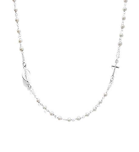 Collana A Rosario Girocollo In Argento 925 Con Perline Bianche - Croce E Medaglietta Madonna - Linea Italia Gioielli Made In Italy