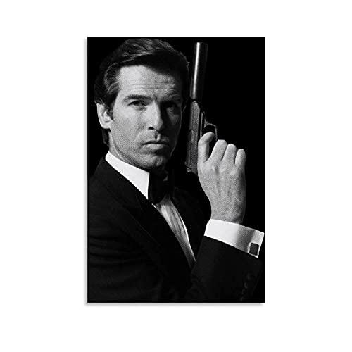 HZHI Pierce Brosnan Bond 007 - Poster su tela con cornice o senza cornice, decorazione per camera da letto, 40 x 60 cm
