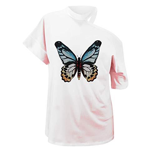 Maglietta Manica Corta Donna T-Shirt Estiva Elegante Camicia Casual Stampa Shirt Vintage Elegante Moda Top Bella Stampa Spalla Allentata Moda Manica Corta Top Casual (L,4bianca)